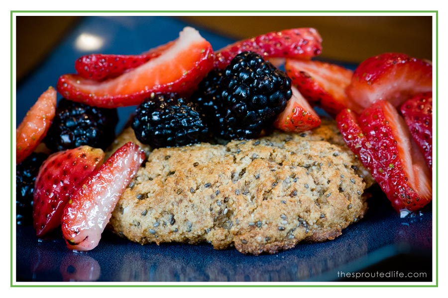 chia almond breakfast shortcakes {with strawberries & blackberries}