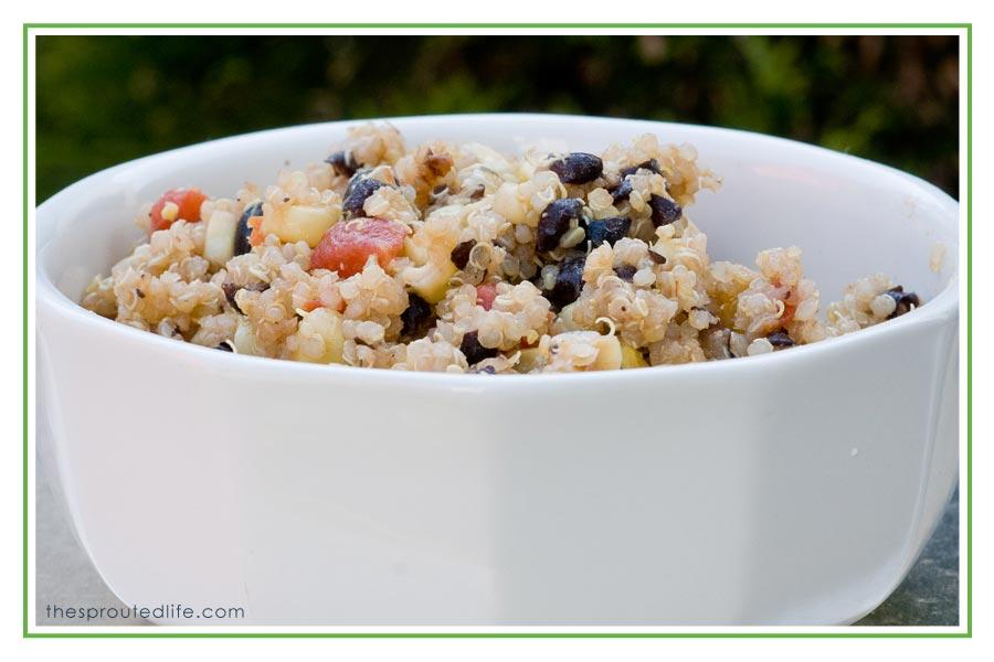 black bean quinoa salad (hot or cold)