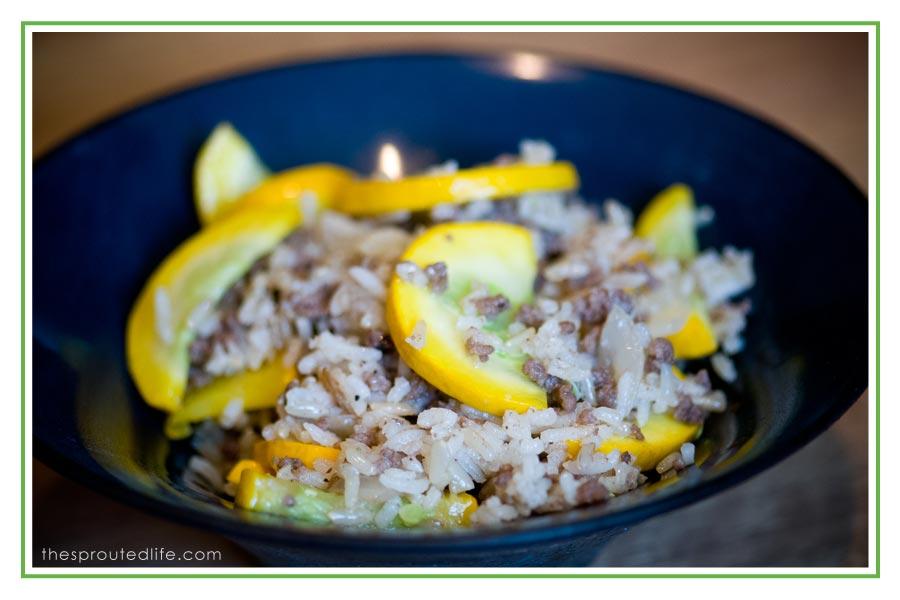 beef, rice & yellow squash skillet dish
